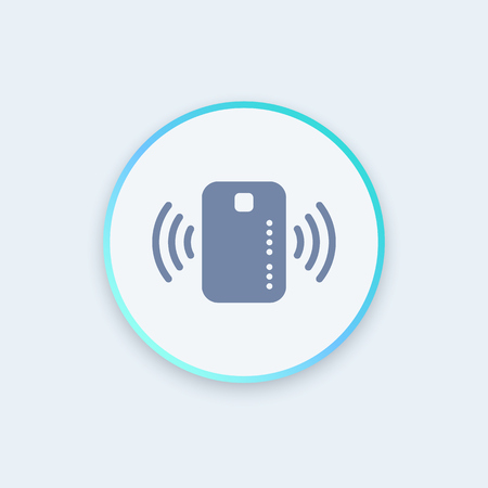 wirelessly: Contactless credit card icon, card with radio wave outside, credit card payment sign, round stylish icon, illustration