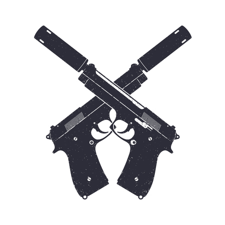 crossed modern pistols with silencers, two handguns isolated on white, illustration 向量圖像