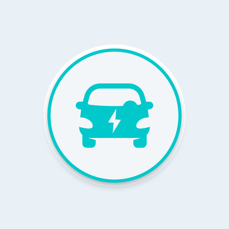 electric automobile: electric car round icon, EV, electric vehicle sign, ecologic automobile, clean transport,illustration Illustration