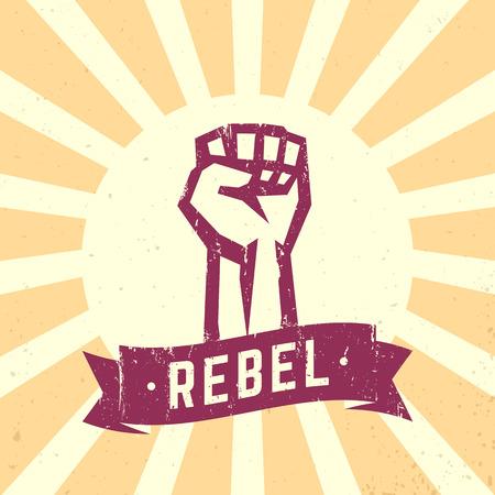 Rebel, signe vintage, poing tenue haute en signe de protestation, illustration