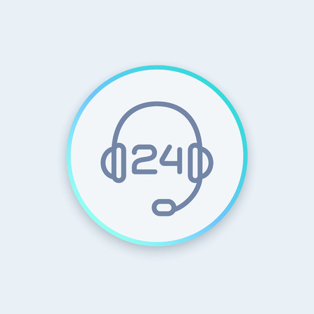 headphone, headset line icon, call center, technical support, contact us, helpline, 24 support service round stylish icon, illustration