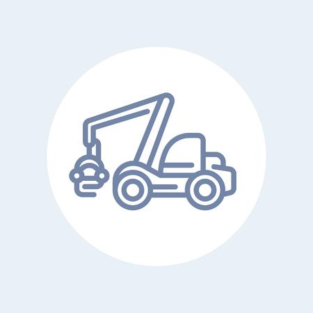 timber harvesting: Forest harvester line icon, timber harvesting machine sign isolated on white, illustration