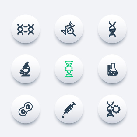 replication: genetics icons, dna chain pictogram, genetic modification, dna replication, genetic research, laboratory, round modern icons set, illustration Illustration