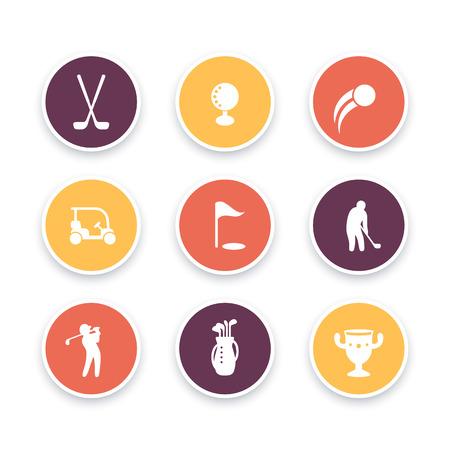 golf bag: Golf icons, golf clubs, golf player, golfer, golf bag, golf signs, round icons set, vector illustration