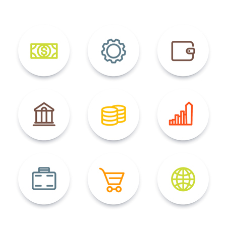 estimation: Finance icons, wallet, money, savings, banking, commerce, color round thick line icons set, vector illustration