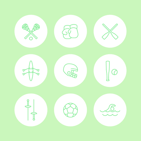 lax: sports and games line icons, round sports signs, boxing, fencing, lacrosse, football, isolated icons set, vector illustration Illustration