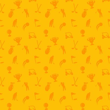 golf bag: seamless pattern with golf icons, seamless background, golf cart, clubs, ball, golfer, golf bag, vector illustration Illustration