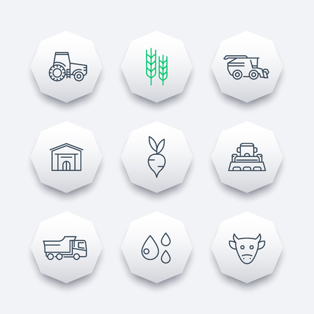 agricultural machinery: Agriculture, farming line icons, agrimotor, harvest, cattle, hangar, agricultural machinery octagonal icons set, vector illustration