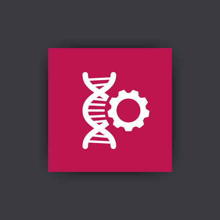 modification: dna modification icon, pictogram with dna chain and gear, dna repair icon on square, illustration