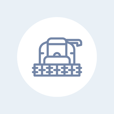 combine: Harvester line icon, grain harvester combine front view, harvester machine isolated icon, vector illustration