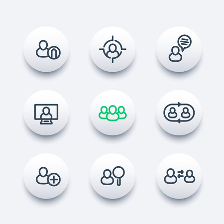 delegation: Human resources round modern icons, hrm, personnel management, staff rotation, coaching, hiring, vacancy, thick line icons set, illustration