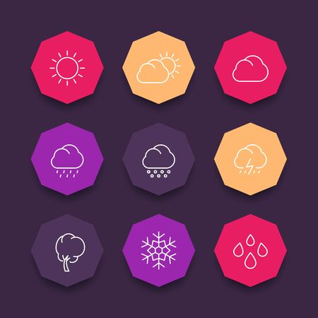 hail: Weather line icons, sunny, cloudy day, rain, hail, snow, wind, sun, color octagonal icons set, illustration