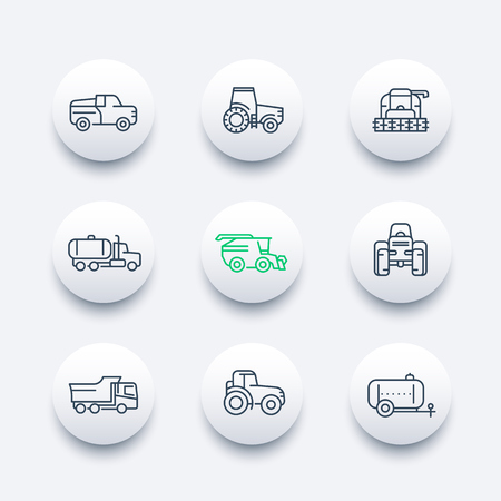 agricultural machinery: Agricultural machinery line icons, tractor, combine harvester, agricultural vehicles, grain harvesting combine, truck, pickup round modern icons set, illustration