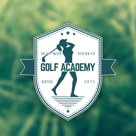 swinging: Golf Academy vintage emblem, badge with girl swinging golf club, illustration Illustration