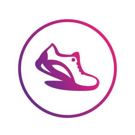 running shoe: Running icon, logo element, running shoe in circle over white, vector illustration Illustration