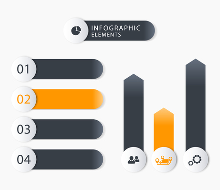 3 4: Modern business infographics elements, 1 2 3 4, charts, step labels
