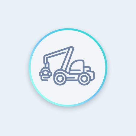 timber harvesting: Forest harvester linear icon, timber harvesting machine sign, round pictogram, vector illustration