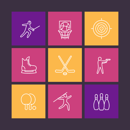 skating on thin ice: sports, games, team sport line icons in color squares, vector illustration
