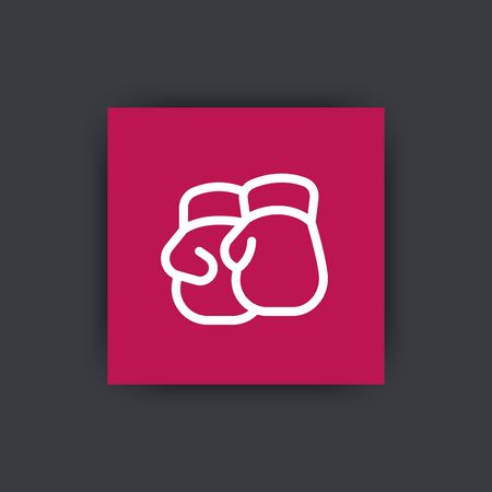 two stroke: Boxing gloves line icon, boxing pictogram, square icon, vector illustration