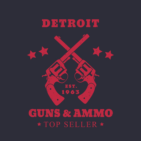 ammo: Detroit guns and ammo sign, emblem with two revolvers, red on dark, vector illustration