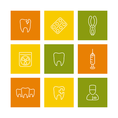 toothcare: Tooth, dental care, stomatologist, toothcare, stomatology linear icons on squares isolated over white, vector illustration Illustration