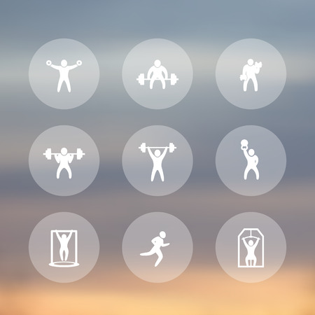 strong chin: Gym, fitness exercises icons, gym training, workout, fitness, exercises transparent pictograms, vector illustration