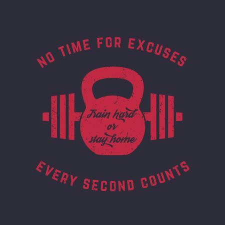 Train hard, vintage gym t-shirt design, print, kettlebell and barbell, red on dark, vector illustration