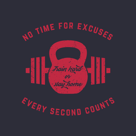 Train hard, vintage gym t-shirt design, print, kettlebell and barbell, red on dark, vector illustration