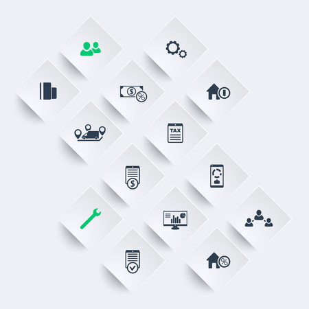 rhombic: 14 finance, costs, tax icons on rhombic shapes, vector illustration Illustration