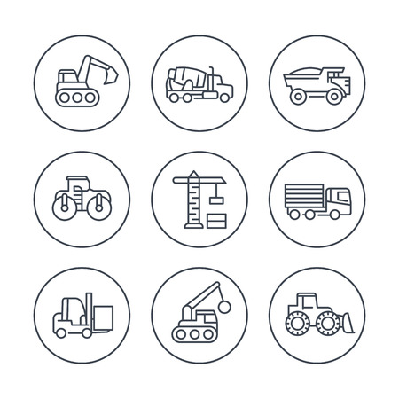 heavy construction: construction vehicles line icons in circles, heavy machines, construction equipment, vector illustration