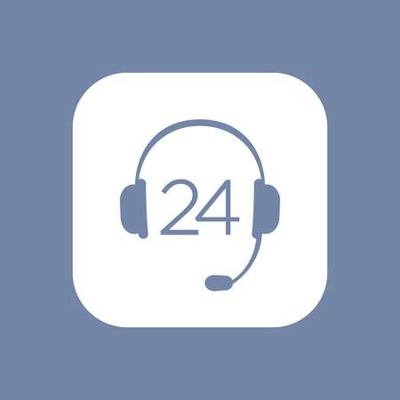 callcenter: headphone, headset icon, call technical support, contact us, 24 support service isolated icon, vector illustration Illustration