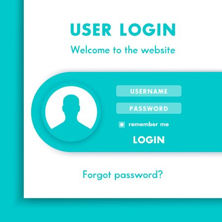 website window: User Login window, login page design for website in aquamarine and white, vector illustration