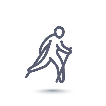 nordic walking lijn pictogram op een witte, vector illustratie Vector Illustratie