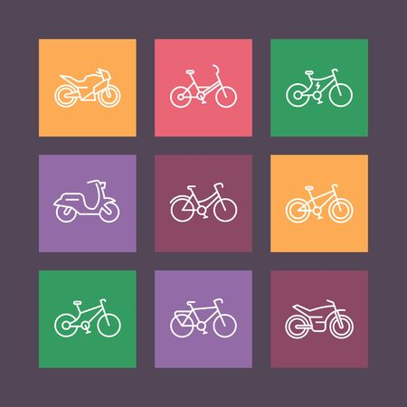 Bikes line icons on color squares, bicycle vector sign, bike, cycling, motorcycle, motorbike, fat bike, scooter, electric bike, vector illustration
