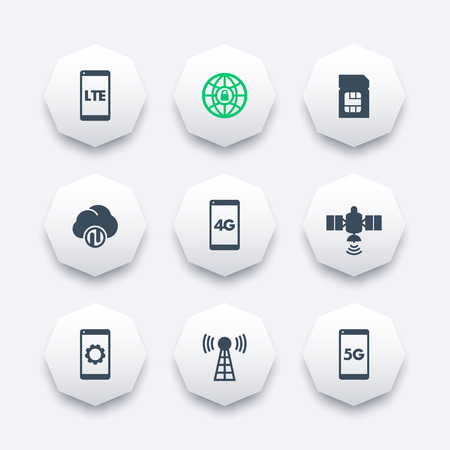 5g: wireless technology icons, 4g network, lte, mobile communication, connection signs, 4g, 5g mobile internet, vector illustration