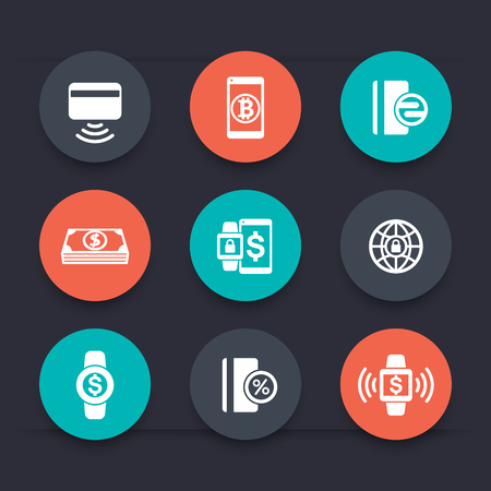 wirelessly: modern payment methods round icons, payment with wearable devices, vector illustration