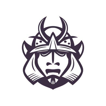 Samurai helmet, japanese facial armour worn by the samurai warrior, japanese traditional martial mask isolated on white, vector illustration