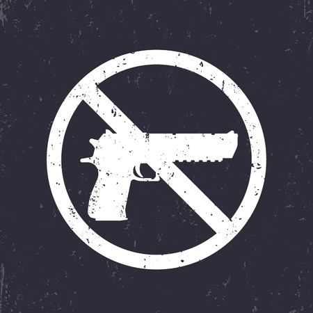 no guns sign with pistol, handgun silhouette, no weapons allowed, white on dark, vector illustration