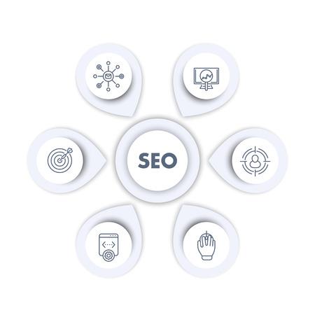 インフォ グラフィック テンプレートの seo、検索エンジン最適化、インターネット マーケティング、web ページのインデックス登録、seo ツールの線