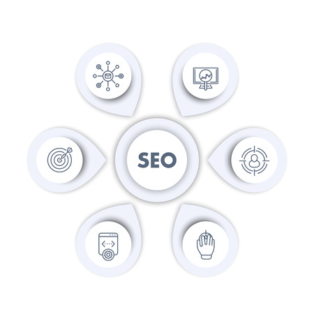 seo infographics template, search engine optimization, internet marketing, web page indexing, seo tools line icons, vector Иллюстрация