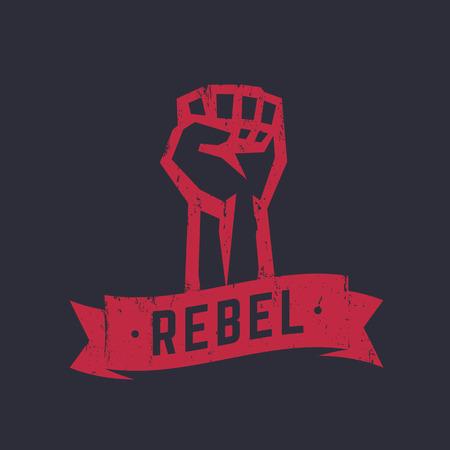 boycott: Rebel, t-shirt design, print, red on dark, fist held high in protest, vector illustration Illustration