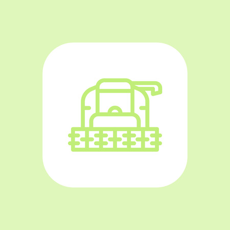 front view: Harvester line icon, grain harvester combine front view, harvester machine rounded square icon, vector illustration
