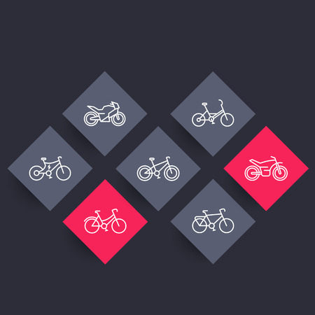 Bikes linear icons on rhombic shapes, bicycle vector sign, bike, cycling, motorcycle, motorbike, fat bike, electric bike, vector illustration
