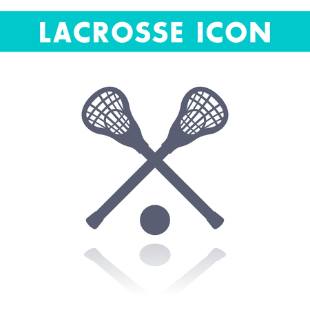 Lacrosse icon isolated on white, lacrosse sticks and ball, vector illustration