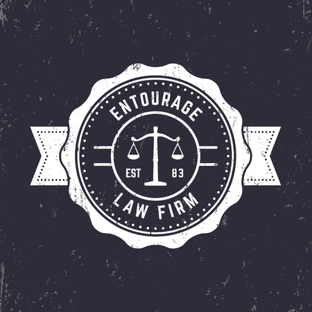 Law firm vintage round logo, law office emblem, vintage badge, white on dark, vector illustration