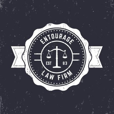 badge logo: Law firm vintage round logo, law office emblem, vintage badge, white on dark, vector illustration
