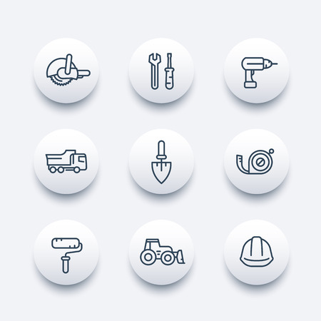 construction icons: construction line icons, construction equipment and tools linear pictograms, modern round icons, vector illustration