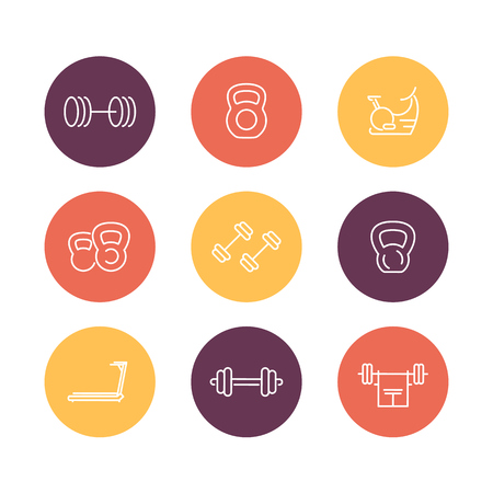 gym equipment: Gym equipment line icons, fitness equipment, training, fitness symbols, gym equipment pictograms, round icons isolated on white, vector illustration