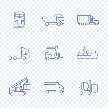 front loading: Transportation icons, forklift, cargo ship, train, truck, transit, transportation linear pictograms, isolated line icons, vector illustration Illustration