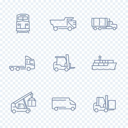 lading: Transportation icons, forklift, cargo ship, train, truck, transit, transportation linear pictograms, isolated line icons, vector illustration Illustration